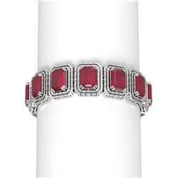 85.91 ctw Ruby & Diamond Bracelet 18K White Gold