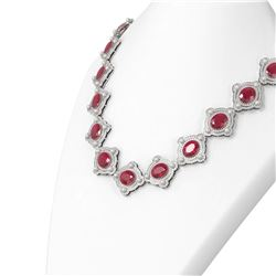 88.9 ctw Ruby & Diamond Necklace 18K White Gold