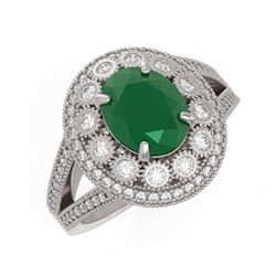 4.55 ctw Certified Emerald & Diamond Victorian Ring 14K White Gold