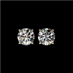2 ctw Certified Quality Diamond Stud Earrings 10K Yellow Gold