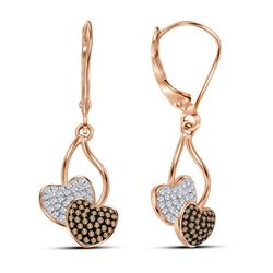 10kt Rose Gold Round Red Color Enhanced Diamond Heart Dangle Earrings 1/3 Cttw