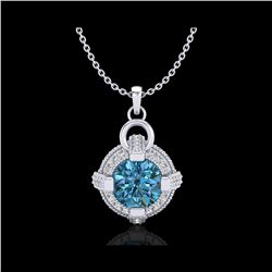 1.57 ctw Fancy Intense Blue Diamond Micro Pave Necklace 18K White Gold