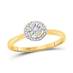 10kt Yellow Gold Round Diamond Solitaire Halo Bridal Wedding Engagement Ring 1/12 Cttw