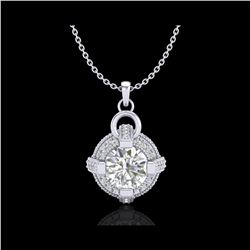 1.57 ctw VS/SI Diamond Micro Pave Stud Necklace 18K White Gold