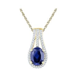 10kt Yellow Gold Oval Lab-Created Blue Sapphire Solitaire Pendant 1-3/4 Cttw