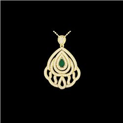 2 ctw Emerald & Micro Pave VS/SI Diamond Necklace 18K Yellow Gold