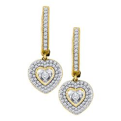 10kt Yellow Gold Round Diamond Heart Dangle Earrings 3/4 Cttw