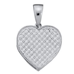 10kt White Gold Round Diamond Simple Heart Cluster Pendant 1/20 Cttw