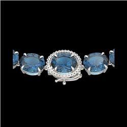 177 ctw London Blue Topaz & Diamond Micro Necklace 14K White Gold