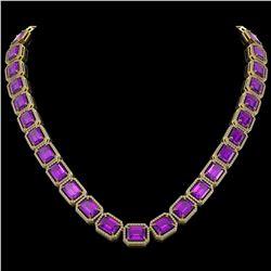 76.69 ctw Amethyst & Diamond Micro Pave Halo Necklace 10K Yellow Gold