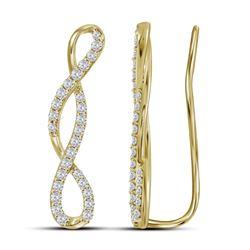10kt Yellow Gold Round Diamond Climber Earrings 1/2 Cttw