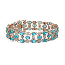 16.06 ctw Swiss Topaz & Diamond Row Bracelet 10K Rose Gold