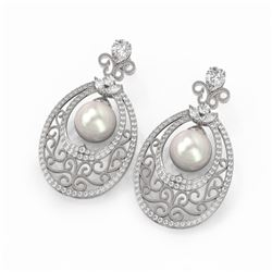 6.5 ctw Mixed Cut Diamond with Pearl Earrings 18K White Gold