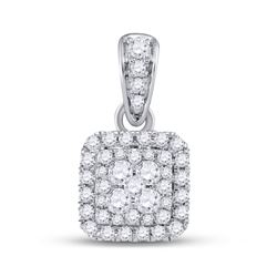 14kt White Gold Round Diamond Square Cluster Pendant 1/2 Cttw
