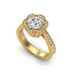 1.33 ctw VS/SI Diamond Solitaire Art Deco Ring 18K Yellow Gold
