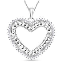 14kt White Gold Round Diamond Beaded Heart Pendant 1/4 Cttw
