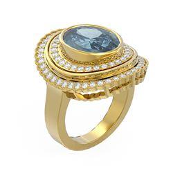 6.26 ctw Blue Topaz & Diamond Ring 18K Yellow Gold