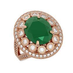 8.76 ctw Certified Emerald & Diamond Victorian Ring 14K Rose Gold