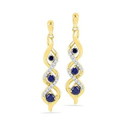 10kt Yellow Gold Round Lab-Created Blue Sapphire Cascade Dangle Earrings 1/2 Cttw
