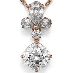 1.4 ctw Cushion Cut Diamond Designer Necklace 18K Rose Gold
