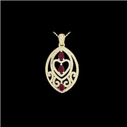 3.50 ctw Ruby & Micro Pave Diamond Heart Necklace 18K Yellow Gold