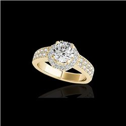 1.4 ctw Certified Diamond Solitaire Halo Ring 10K Yellow Gold
