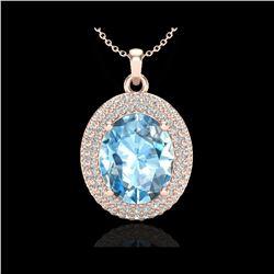 5 ctw Sky Blue Topaz & Micro Pave Diamond Necklace 14K Rose Gold