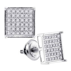 14kt White Gold Round Diamond Square Cluster Earrings 1/4 Cttw