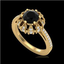 1.65 ctw Fancy Black Diamond Art Deco Micro Pave Ring 18K Yellow Gold