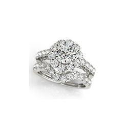 3.11 ctw Certified VS/SI Diamond 2pc Wedding Set Halo 14K White Gold