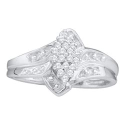 14kt White Gold Round Prong-set Diamond Oval Cluster Ring 1/8 Cttw