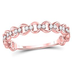 10kt Rose Gold Round Diamond Link Stackable Band Ring 1/8 Cttw