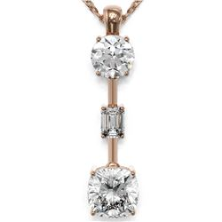 2.5 ctw Cushion Cut Diamond Designer Necklace 18K Rose Gold