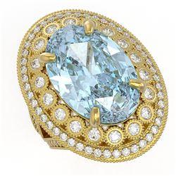 18.82 ctw Certified Sky Topaz & Diamond Victorian Ring 14K Yellow Gold