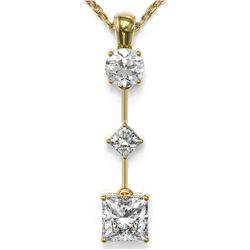 1.16 ctw Princess Cut Diamond Necklace 18K Yellow Gold