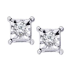 10kt White Gold Round Diamond Solitaire Square Stud Earrings 1/20 Cttw