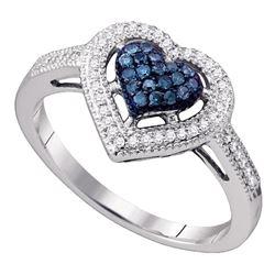 10kt White Gold Round Blue Color Enhanced Diamond Framed Heart Ring 1/4 Cttw
