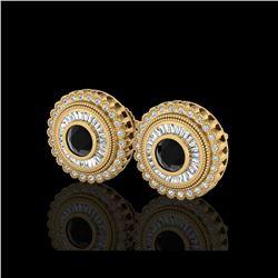 2.61 ctw Fancy Black Diamond Art Deco Stud Earrings 18K Yellow Gold