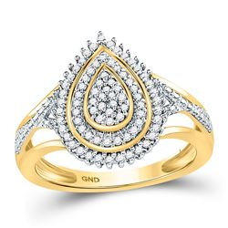 10kt Yellow Gold Round Diamond Concentric Teardrop Cluster Ring 1/4 Cttw