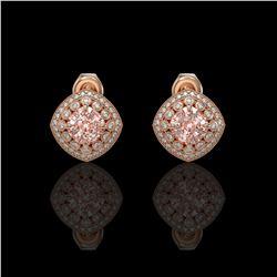 4.19 ctw Morganite & Diamond Victorian Earrings 14K Rose Gold