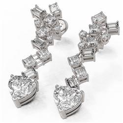 4 ctw Heart Diamond Designer Earrings 18K White Gold