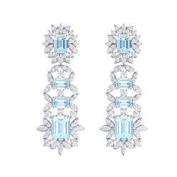 33.36 ctw Sky Topaz & VS Diamond Earrings 18K White Gold
