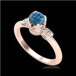 1 ctw Intense Blue Diamond Engagement Art Deco Ring 18K Rose Gold