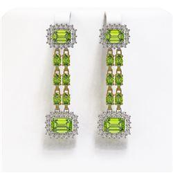 10.88 ctw Peridot & Diamond Earrings 14K Yellow Gold