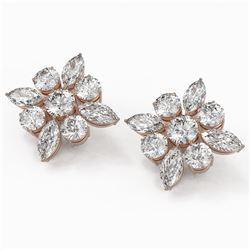 9.86 ctw Marquise Cut Diamond Designer Earrings 18K Rose Gold