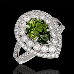 5.02 ctw Certified Tourmaline & Diamond Victorian Ring 14K White Gold