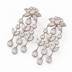 18 ctw Mixed Cut Diamond Designer Earrings 18K Rose Gold