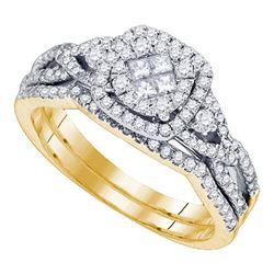 14kt Yellow Gold Princess Round Diamond Cluster Bridal Wedding Engagement Ring Band Set 3/4 Cttw
