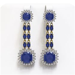 19.88 ctw Sapphire & Diamond Earrings 14K Yellow Gold
