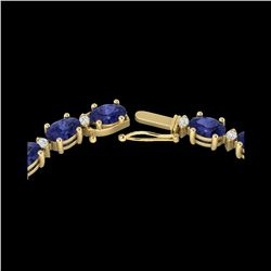46.5 ctw Tanzanite & VS/SI Diamond Eternity Necklace 10K Yellow Gold